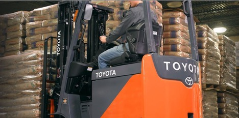 orange toyota forklift